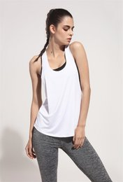 Wholesale Loose T Shirts For Girls - Sexy Yoga Tops Women Gym Sports Vests for Girl Sportswear Loose Female T-Shirts Sleeveless Fitness Sleeveless Shirt Running Tank Top Tee G33