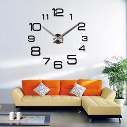 uhr große größe Rabatt Wholesale-2016 Hot Real 3D Wanduhr Diy Big Size Spiegel Wandaufkleber Dekorative Wohnkultur Uhr Duvar Saati Kurze Reloj Wohnzimmer