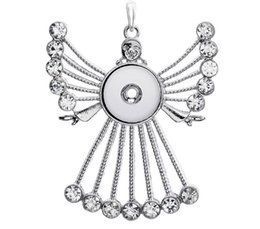 Wholesale Crystal Pendants For European - 20Pcs 3Colors Crystal angel ginger snap button jewelry Crystal pendant Necklace for women's fit 18mm snaps Vintage accessories