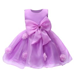 Wholesale American Wells - The new 2016 crop dress girl christening dress with a large bow rose the girl well, party dress children's clothing