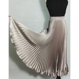 Wholesale Flare Maxi Skirt - 2017 Summer New Fashion Vintage Metallic Bling Bling Glitter Gold Pleated A Line Women Long Maxi Flare Skater Party Skirt