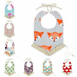 Wholesale Toddler Animal Towels - Baby Bibs INS Tassel Floral Fox Burp Cloths Infant Toddler Cotton Cartoon Bandana Baby Animal Printed Saliva Towels Triangle Head Scarf J429