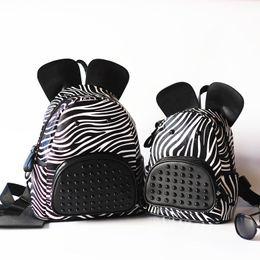 Wholesale Kids Bag Zebra - Wholesale- Baby boys and girls Fashion bag Pu leather Kids bag Unisex Zebra print packages children backpack sling bolsas