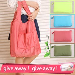 Wholesale Large Square Cloth - 8 style New Fashion Oxford cloth foldable green shopping bag Tote Folding pouch handbags Convenient Large-capacity storage bags Folding pouc