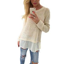Wholesale Glitter Sweater - Wholesale- Women Casual Loose Pullovers Sweaters Autumn Patchwork Glittering Knitted Sweaters Long Sleeve Split Hem Knitwear Tops YF326