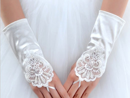 Wholesale Wholesale Color Satin Gloves - Wholesale- Short fingless satin White Ivory red color girl lady princess bridesmaid dancing performance gloves free shiping wholesale