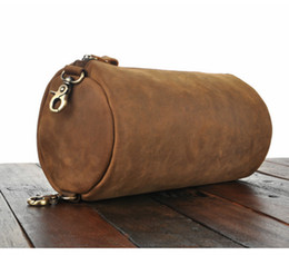 Wholesale crazy horse cross body bag - Crazy Horse Leather Cylinder Bags Retro Cross-body Bags for Men Wholesale Price Cowhide Single Shoulder Bag