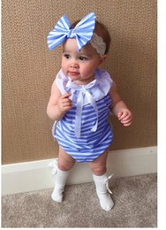 Wholesale Sailor Baby Girl - Baby Clothing Summer Girls Romper Bow Striped Sailor Collar Cute Ins Hot Sale Baby Rompers Infant Clothes