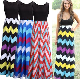 Wholesale Wholesale Women S Beach Clothing - New Summer Style Color Wave Striped Pattern Long Printed Sleeveless Beach Party Women Maxi Dresses Bohemian Women Clothing