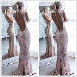 Wholesale Long Elegant Sequin Prom Gowns - 2017 Sexy Rose Gold Backless Mermaid Sequins Long Prom Dresses High Neck Full Length Elegant Vintage Long Maid Of Honor Bridesmaid Gowns