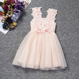 Wholesale Costume Braces - 2017 new arrival Girls Lace flower tutu dress baby kids ribbon bowknot flower princess braces skirt party performace costume 6colors for 2-6