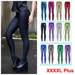 Wholesale Legging Plus Size Women Wholesale - Hot Sale! Novelty Fish Scale Shiny Leggings for Women 2016 Mermaid Legging Slim Pencil Pants Plus Size Grils Leggins 12colors WK5015