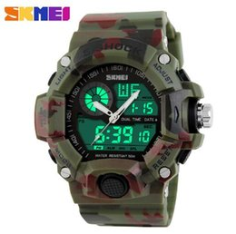 Wholesale Men S Silicone Watch - 2017 LED Wrist Watches Quartz Digital Camo Watch Men Dual Time Man Sports Watches Men Skmei S Shock Military Army Reloj Hombre