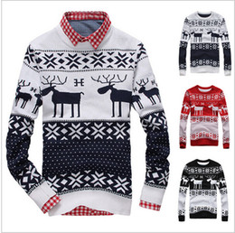 Wholesale Mens Wool Sweater Xxl - Wholesale- New 2016 Fahion Winter Warm Wool Knitted Mens Ugly Christmas Deer Sweater Crewneck Long Sleeve Reindeer Pullover Knitwear M-XXL