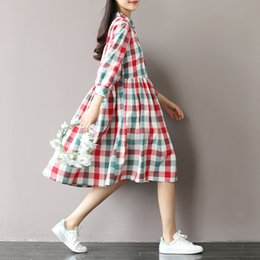 Wholesale Linen Club Clothes - Wholesale- Summer Dress Short Sleeve Turn Down Collar Cotton Linen Dress Plaid Print High Waist Casual Women Dress Plus Size Women Clothing