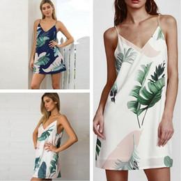 Wholesale Cami Mini - Fashion White Cami Summer Dress Women Palm Leaf Print Double V Neck Casual Shift Dresses 2017 Fashion Sexy Sleeveless Dress