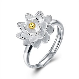 Wholesale Real Gold Jewellery - Party Rings for Women Jewelry 925 Real Silver Jewellery For Ladies Gifts Lotus Friendship Rings making with Gold color center