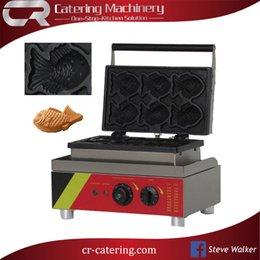 Wholesale Commercial Fishing - Free Shipping 6 PCS Japanese Fish Waffle Commercial Use Non-stick 110V 220V Electric Ice Cream Taiyaki Machine Maker Baker Iron (CR-WF6B)