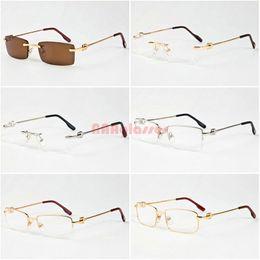 Wholesale Titanium Rimless Spectacle Frames - 2017 Famous Designer Brand Gold Metal Frame Men Women Rimless Glasses Fashion Big Buffalo Spectacle Sunglasses Lunettes Gafas De Sol