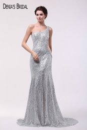 Wholesale Dark Pink Sequin Waist One - 2017 Sliver mermaid Sequins Evening Dresses with One-shoulder Neckline Floor Length Sweep Train Beaded Cut Waist Party Gowns