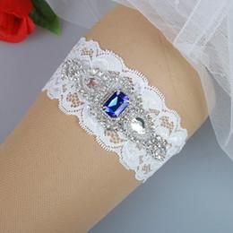 Wholesale Cheap Wedding Garter Belts - Wedding Bridal Garter with Royal Blue Rhinestones Free Shipping Bridal Wedding Garter Set Belt Cheap Prom Leg Garter 2017 In Stoc