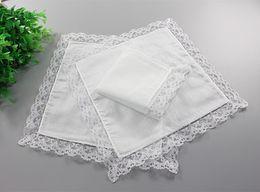 Wholesale Blank 25 - 500pcs White Lace Thin Handkerchief Woman Wedding Gifts Party Decoration Cloth Napkins Plain Blank DIY Handkerchief 25*25cm