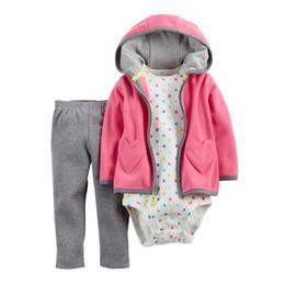 Wholesale Infant Boy Cardigans - Wholesale- 3pcs set Stereoscopic Ear Newborn Baby Girl Clothes Bodysuit Pants Cardigan Wear Suit Infant Costume Kit Girl Children Clothing