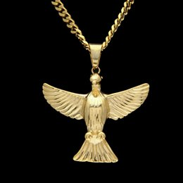 Wholesale Men Gold Eagle Necklace - Fashion Stainless Steel Flying Eagle Bird Pendant Necklace For Men Women Punk Hip hop Style Gold Silver Animal Pendant Necklace