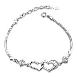 Wholesale Luxurious Diamond Bracelet - New Love Charms Heart to Heart Bracelet Band With Luxurious CZ Diamond Silver Bangle Bracelet Free Shipping Lady Gift