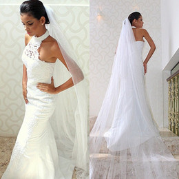 Wholesale Fashion Dress Veiled - 2017 New Fashion High Neck Mermaid Wedding Dresses Pearls Lace Applique Backless Wedding Bridal Gowns without Bridal Veils