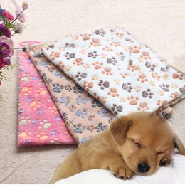 Wholesale Puppy Bedding - 40 x 60cm Cute Floral Pet Sleep Warm Paw Print Dog Cat Puppy Fleece Soft Blanket Beds Mat 0704055