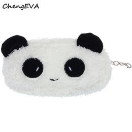 Wholesale Pen Case Panda - Wholesale- ChengEVA 1PC Cute Plush Panda Pen Pencil Case Cosmetic Makeup Bag Coin Purse Wallet Fashion Brand Hot Sale Attractive Nov 21