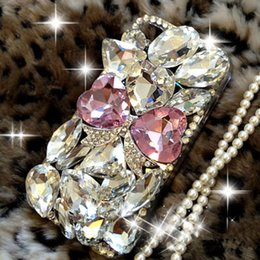 Wholesale Diamond Bowtie - 3D Luxury Bling Diamond Hand-made Rhinestone Flower Bowtie Crystal Hard Case Cover for Skin For iPhone 5 5S SE 6 6S Plus 7 7 Plus Phone Case