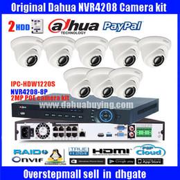 Wholesale Dome Camera Hd Poe - Original ENGLISH firmware dahua 8PoE NVR Network Video Recorder DH-NVR4208-8P with 8pcs DH-IPC-HDW1220S 2MP Full HD POE english camera