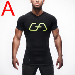 Wholesale Crossfit Clothing - Men's Short sleeves Compression Shirt Crossfit T-shirt The lightning Print Fitness Top Base Layer Clothing