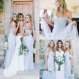 Wholesale Cheap Gorgeous Bridesmaid Dresses - Amsale 2017 Gorgeous Draped Sky Blue Off-shoulder Beach Boho Long Bridesmaid Dresses Bohemian Wedding Party Guest Bridesmaids Gowns Cheap