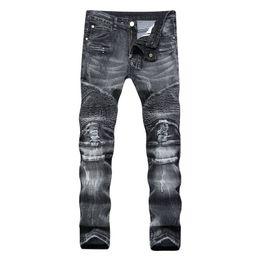 Argentina 2017 New Spring Grey Fashion Hole Jeans Hombres pantalones largos pantalones pitillo pantalones talla 28-40 Suministro