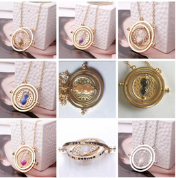 Wholesale Harry Potter Rotating Time Turner - Harry Potter Necklaces 9 colors Time Turner Necklace Hourglass Harry Necklace Hermione Granger Rotating Spins Fashion Gold Hourglass Jewelry