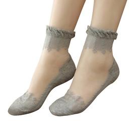 Mulheres meias transparentes Incrível Verão Ultrathin Transparente Cristal De Renda De Seda Elástica de Algodão Curto Meias para estudantes adultos Meninas ST023 cheap adults lace socks de Fornecedores de meias de renda adultos