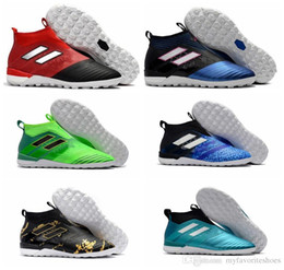 Wholesale Leather Turf Soccer Shoes - 2017 original ACE Tango 17+ Purecontrol IN indoor soccer cleats ankle high ace football boots mens turf soccer shoes laceless kids leather