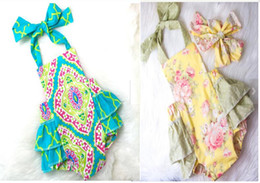 Wholesale Girls Short Floral Jumpsuit - New Summer Baby Clothes Floral Baby Rompers Girls Boutique Clothing One-piece Outfits Baby Bubble Rompers Jumpsuit Flower Girls Clothes