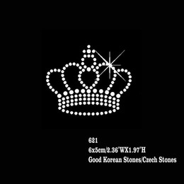 Wholesale Iron Patches Crowns - Small Crown Rhinestone Applique Hotfix Rhinestones Heat Transfer Iron On Motifs Patches 48pcs lot