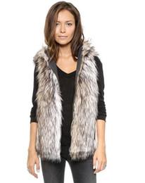 Maglia con cappuccio in pelliccia online-2017 Spring Faux Fur Vest Femme Gilet con cappuccio Outwear cappotto corto speciale Slim signore cappotti donne BlackWhite più