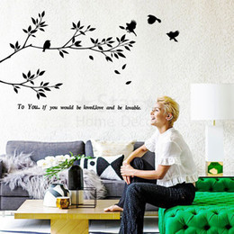 Wholesale Vinyl Removable Wall Decorations - Art new Design tree home decoration Vinyl birds Wall Sticker removable house decor PVC love words decals in family rooms