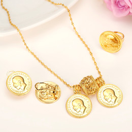 Wholesale China Twin - 14k Real Yellow Solid Gold Coin Jewelry sets,Ethiopian Coin set Necklace Twin Pendant Earrings Ring Habesha Wedding Eritrea Africa Arab Gift