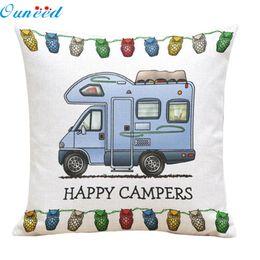 Wholesale Plains Hotel - Wholesale- Homey Design 2017 1PC Decorative Pillowcase Happy Campers Square Linen Throw Pillow Case Free Shipping JA19