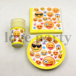 Wholesale Paper Plate Cups - Wholesale- 60pcs\lot Emoji Theme Decorations Napkins Baby Shower Tableware Kids Favors Happy Birthday Party Paper Cups Plates Supplies