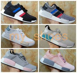 Wholesale R1 Race - 2017 Cheap Wholesale NMD R1 Women and Men Running Sneakers Fashion Running Shoes Grey Pink White Blue NMD Runner Primeknit Sneakers