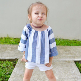 Wholesale Vertical Stripe Shorts - INS hot selling New Arrivals summer baby cotton half sleeved suit Girls summer suit Vertical stripe T-shirt and shorts two piece set 3-8T