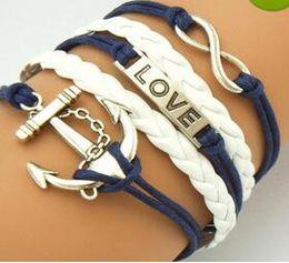 Wholesale Silver Id Bracelets - Mutilayer Braided Leather Handmade Bracelet Love Infinity Anchor ID Bracelets Love Peach Heart Cross Bird Charm Bracelets Free Shipping